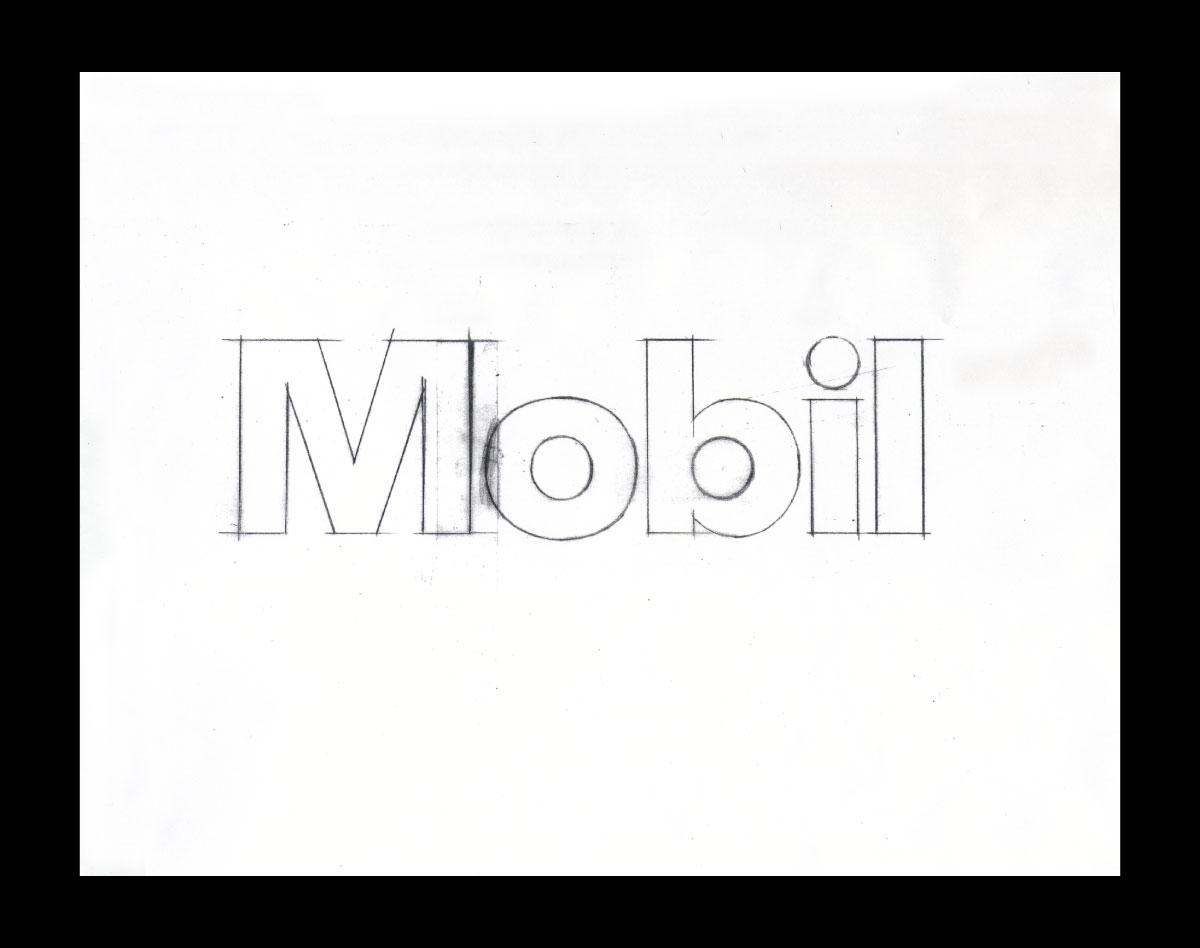Mobil Oil Corporation logo sketch