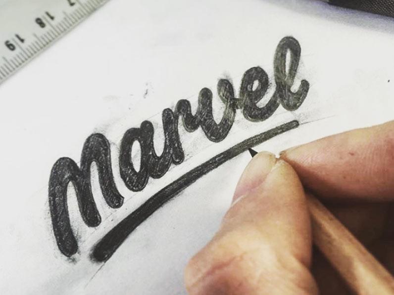 Marvel logo sketch